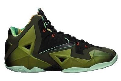 Name:NIKE LEBRON XI Color:Parachute Gold/Arctic Green-Dark Loden-Black Style:616175-700. Release Date:10/12/2013. Price:$200. Exclusive:GR [Detailed Photos]