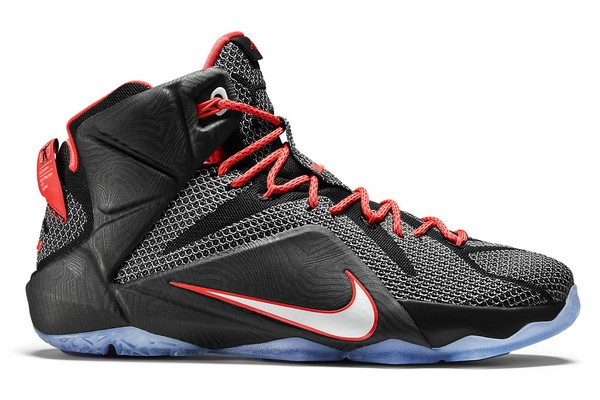 Name:NIKE LEBRON XII Color:Black/White-Bright Crimson Style:684593-016.  Release Date:02/04/2015. Price:$200. Exclusive:GR [Detailed Photos]