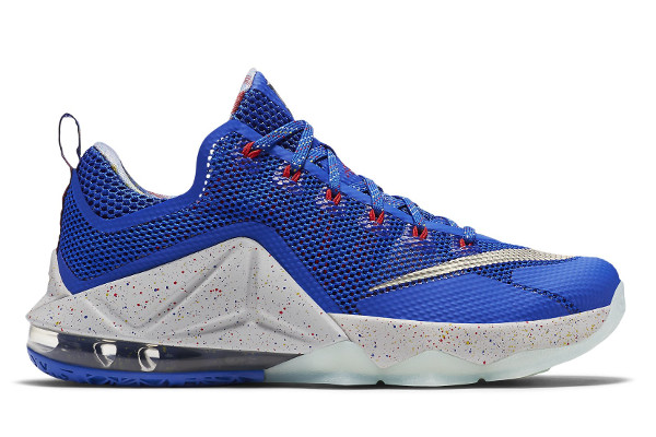 Name:NIKE LEBRON XII LOW Color:Hyper Cobalt/Metallic Silver-Light Crimson Style:812560-406. Release Date:08/22/2015. Price:$175. Exclusive:GR