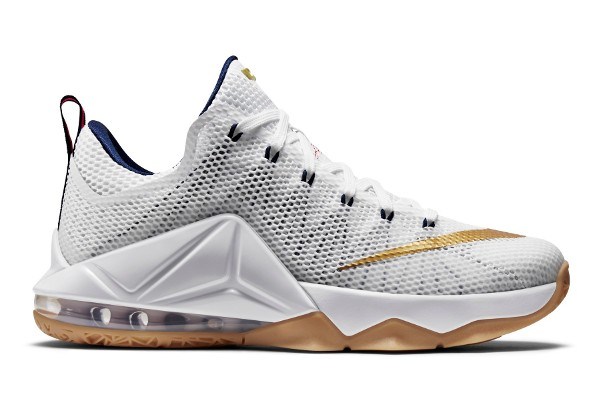 Name:NIKE LEBRON XII LOW Color:White/Midnight Navy-University Red-Metallic Gold Style:724557-174. Release Date:04/09/2015. Price:$175. Exclusive:GR