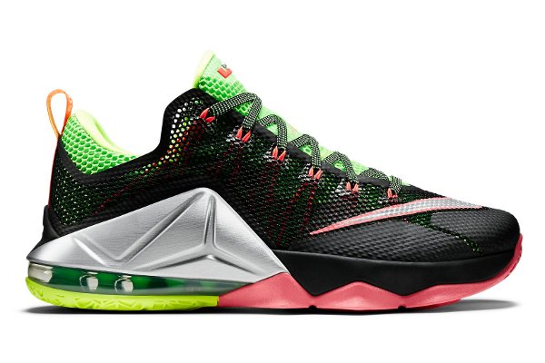 Name:NIKE LEBRON XII LOW Color:Black/Metallic Silver-Green Strike-Volt-Hot Lava Style:724557-003. Release Date:07/02/2015. Price:$175. Exclusive:GR