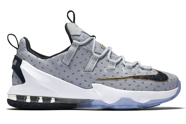 Name:NIKE LEBRON XIII LOW Color:Cool Grey/Metallic Gold-White-Black Style:831925-071. Release Date:05/01/2016. Price:$150. Exclusive:GR [Detailed Photos]
