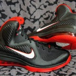 Fresh Look at Nike LeBron 9 in Black, White and Red, of course.