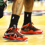 Up Close // LBJ's Red & Black Nike LeBron X PS Elite PE (Game 4)