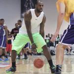 LBJ wears Purple Soldier 7 during LeBron James Skills Academy 2013