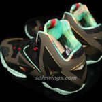 This LeBron XI is Parachute Gold/Arctic Green-Dark Loden-Black