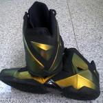 """Nike LeBron XI (11) Black / Gold """"Logo-less"""" Sample"""