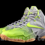 Nike LeBron 11 in Volt and Grey with Gum, Stripes and 3M