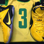 Oregon Ducks' LeBron 12 White Home & Alternate Yellow PEs