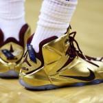 "LBJ Wears Shiny Nike LeBron 12 ""Cavs Gold"" Finals PE in Game 6"