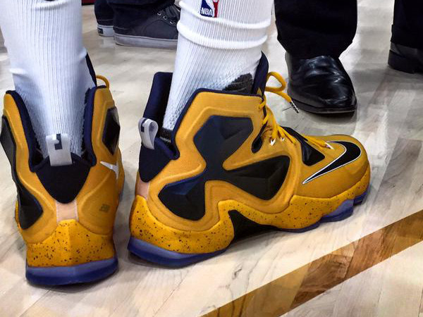 huge discount eabce 09101 ... nike lebron 13 all gold King James Sports YellowampNavy LeBron 13s on  Media Day .