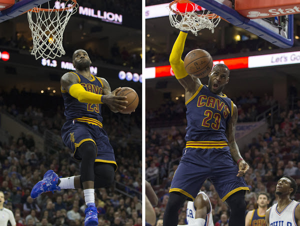 6da513f5279 LBJ Wears Whiteout Nike Soldier 11 as Cavs Dominate 76ers