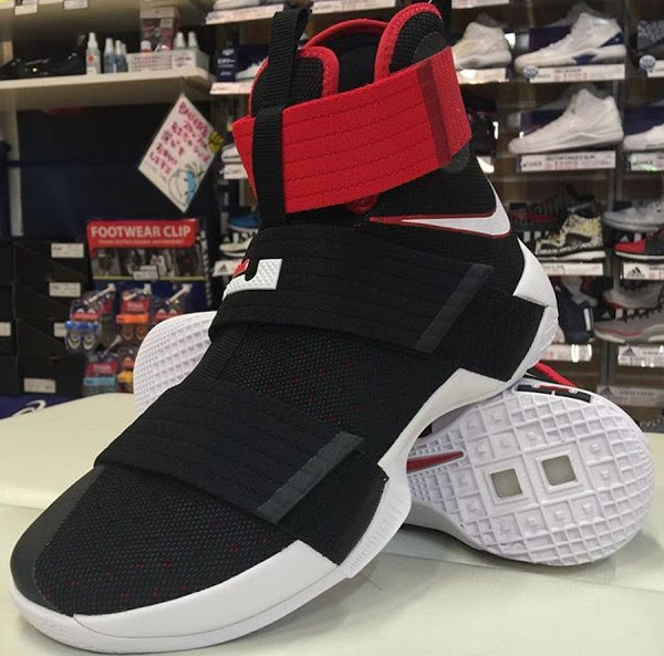 reputable site 90295 ae413 First Look at Nike LeBron Soldier 10 in Black and Red | NIKE ...