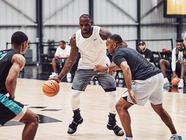 cheaper cdba0 4ccc8 James Wears New LeBron Soldier 10 at Nike Basketball Academy ...