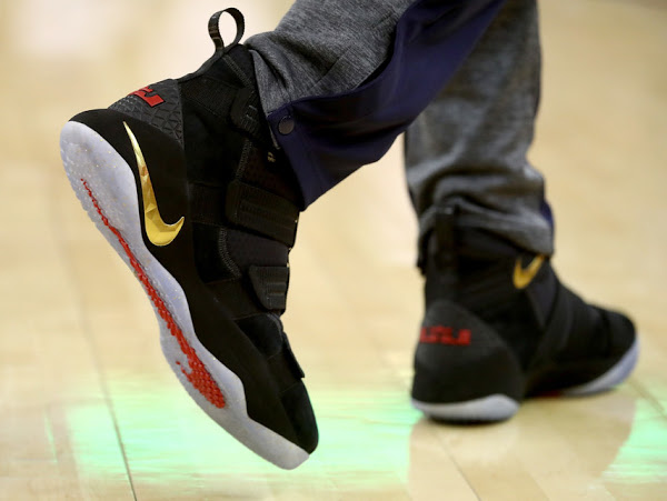 """03c5f86f260db ... LeBron Soldier 11 """"Olive""""  05-06-2017 Black Sleeves and Soldiers Not  Enough as Cavs Fall in Game 2 ..."""