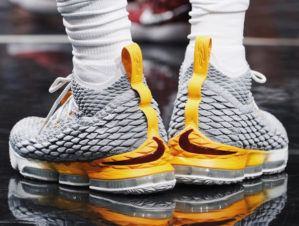 outlet store cbb88 574ce King James Breaks Outs Nike LeBron 15 Grey / Yellow PE ...
